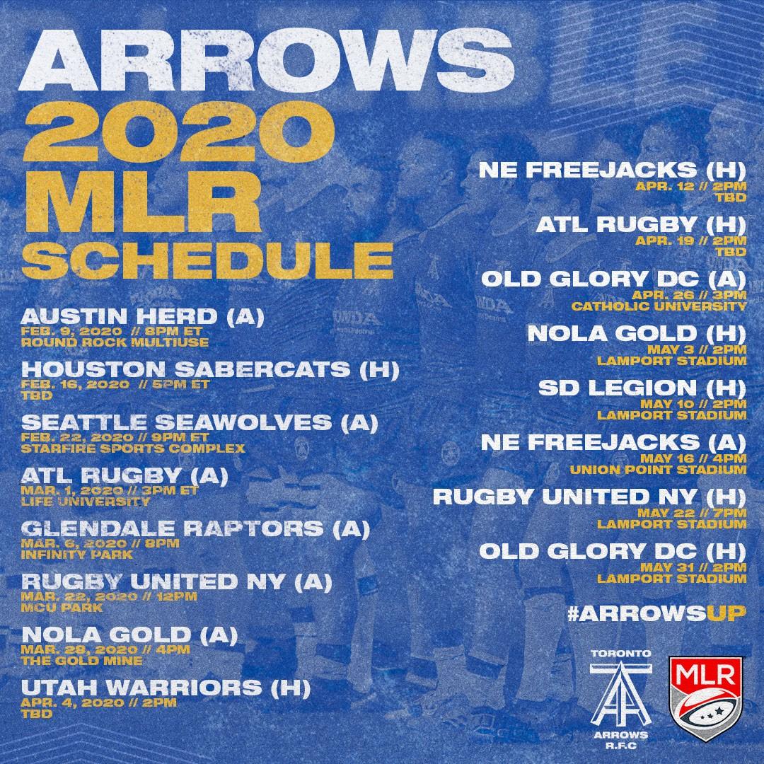 Toronto Arrows Schedule