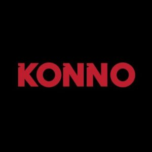 Konno written is red text on black background, logo